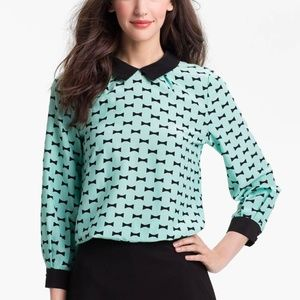 Kate Spade Isadora Bow Tie Silk Blouse Mint